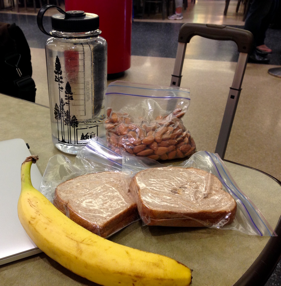 Our airport snack food. Whole lot cheaper to bring our own!