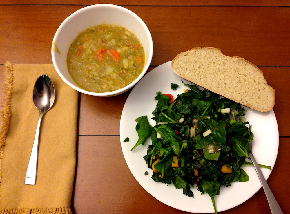 Delicious homemade bread and split-pea soup by Mr. FW with a homemade kale salad brought by a friend