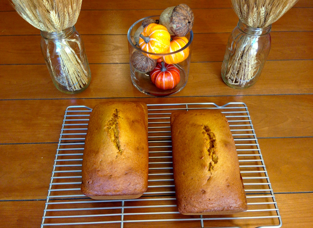 Pumpkin breads I baked over the weekend: one for a dinner party and one for a friend