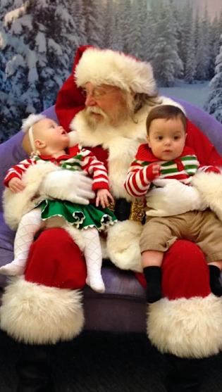 The twins meet Santa