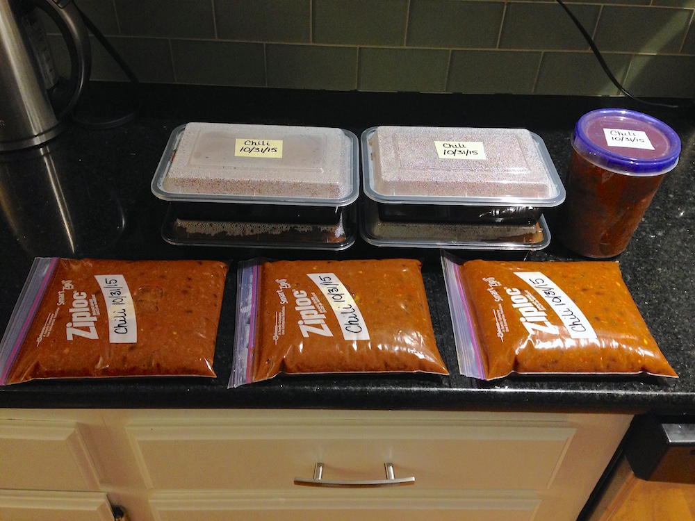 Chili portioned out and ready to freeze!