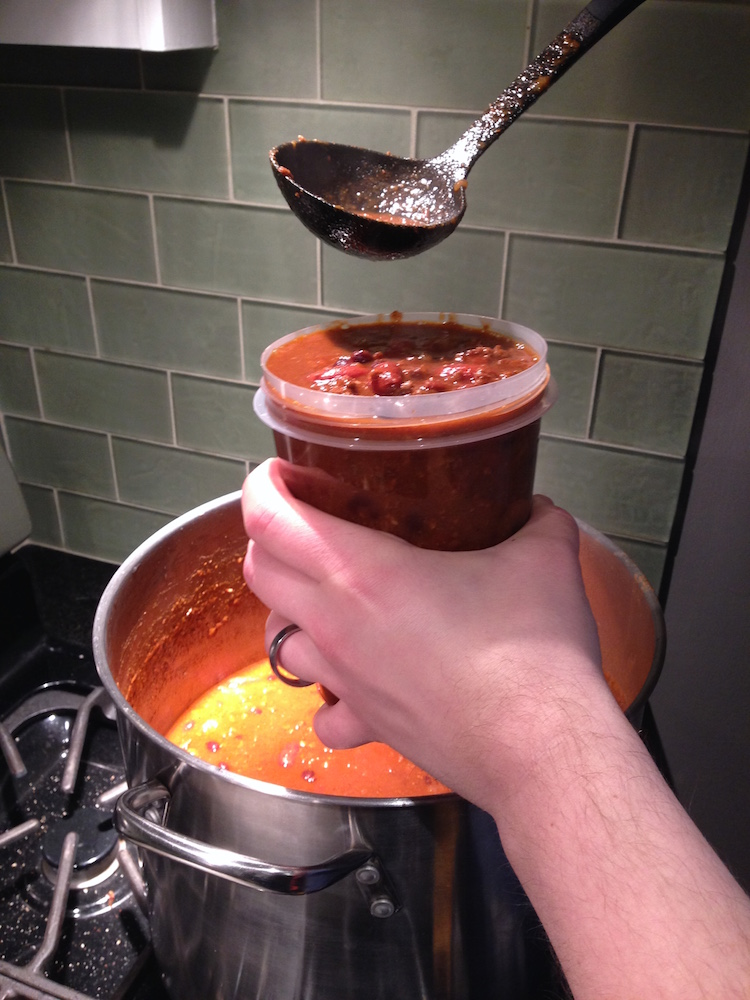Mr. FW ladling from the enormous vat of chili he cooked