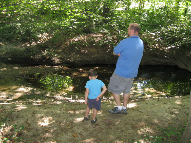 Father and son: hiking in the middle of the week. Just because we can.