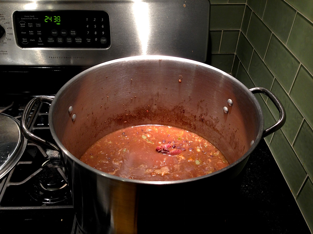 We're getting a lot of cooking done... here's Mr. FW's spicy Cuban black bean soup