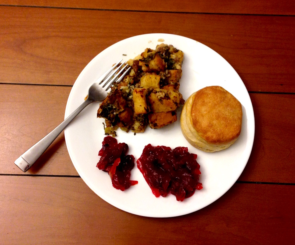 Our scaled back Thanksgiving feast of stuffing, cranberry sauce, and rolls
