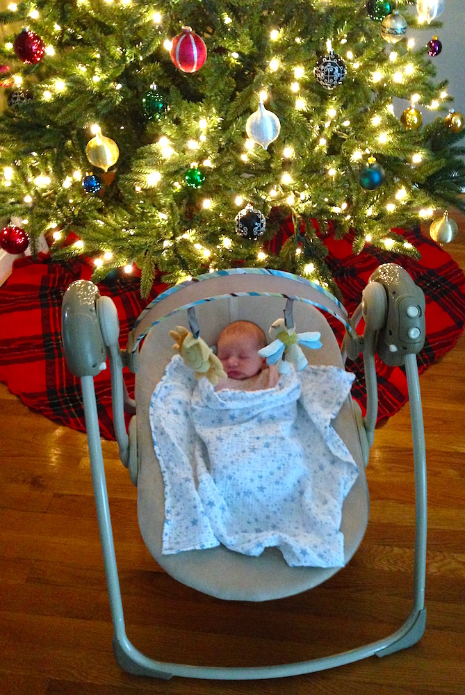 Babywoods enjoying her garage sale swing 'neath the tree