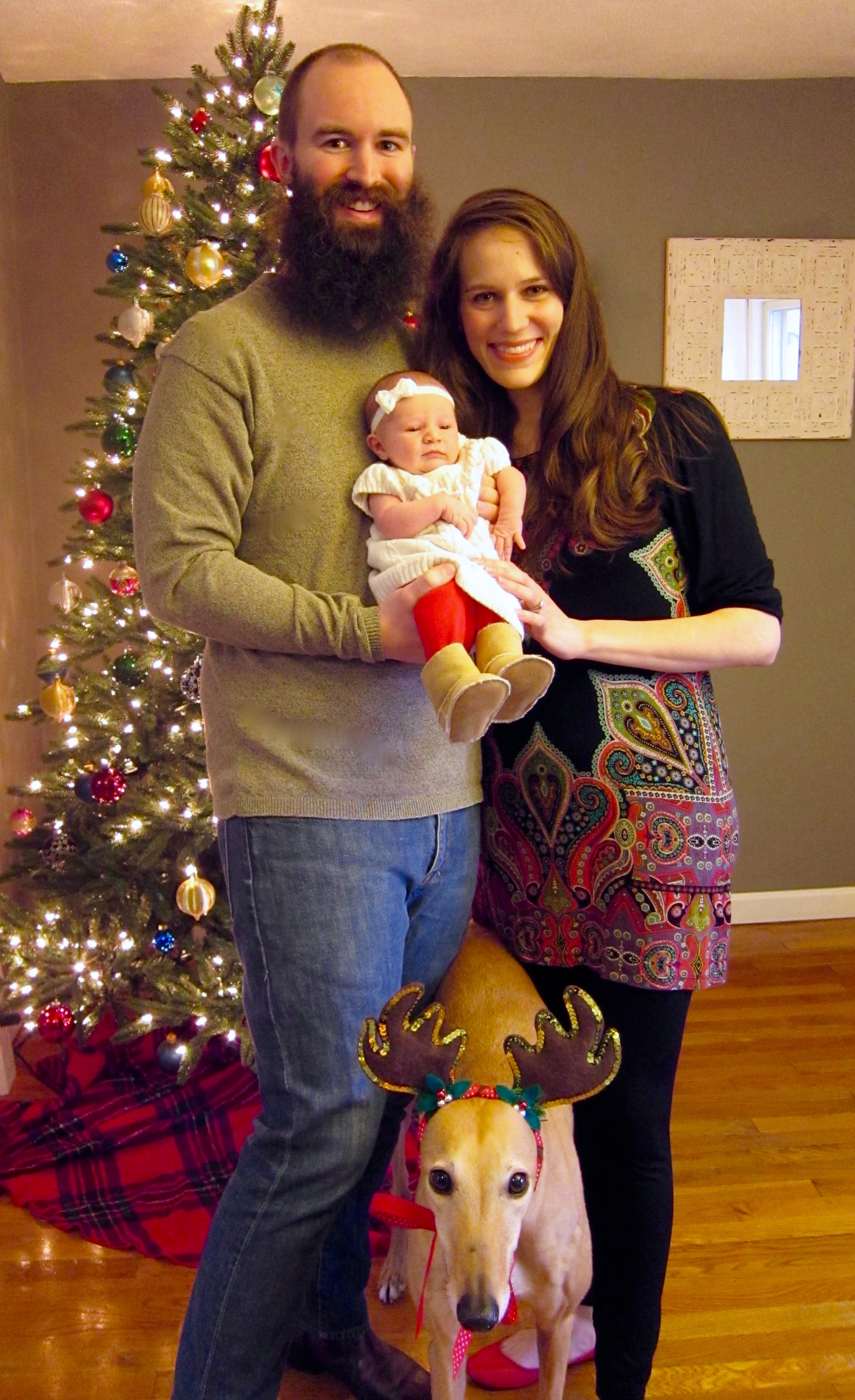 Our Christmas card/birth announcement photo. This was the only shot where Babywoods wasn't crying and Frugal Hound was facing forward.