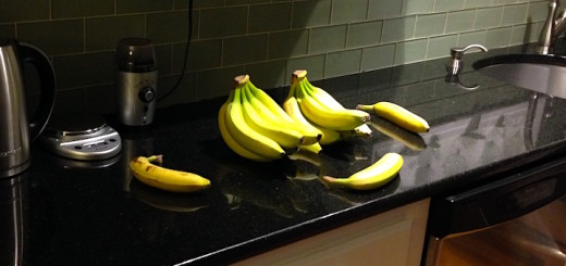 Bananas: on a counter!