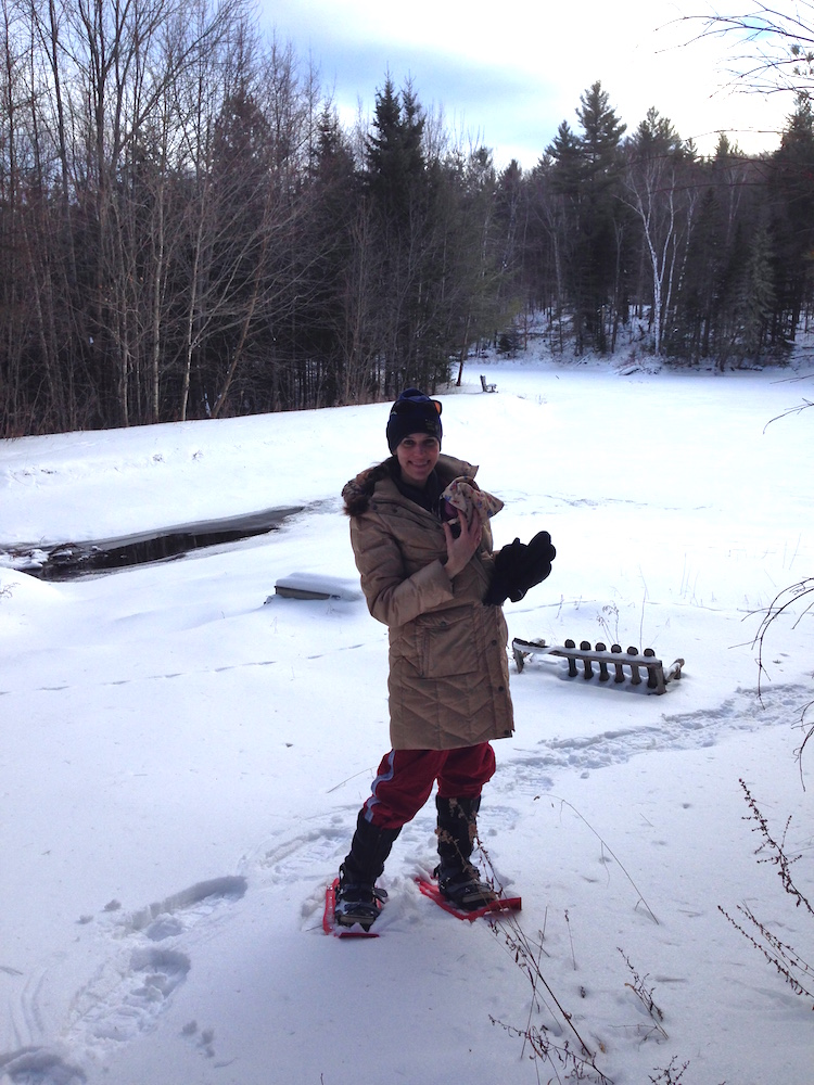 Me and Babywoods snowshoeing without a plumbing care in the world