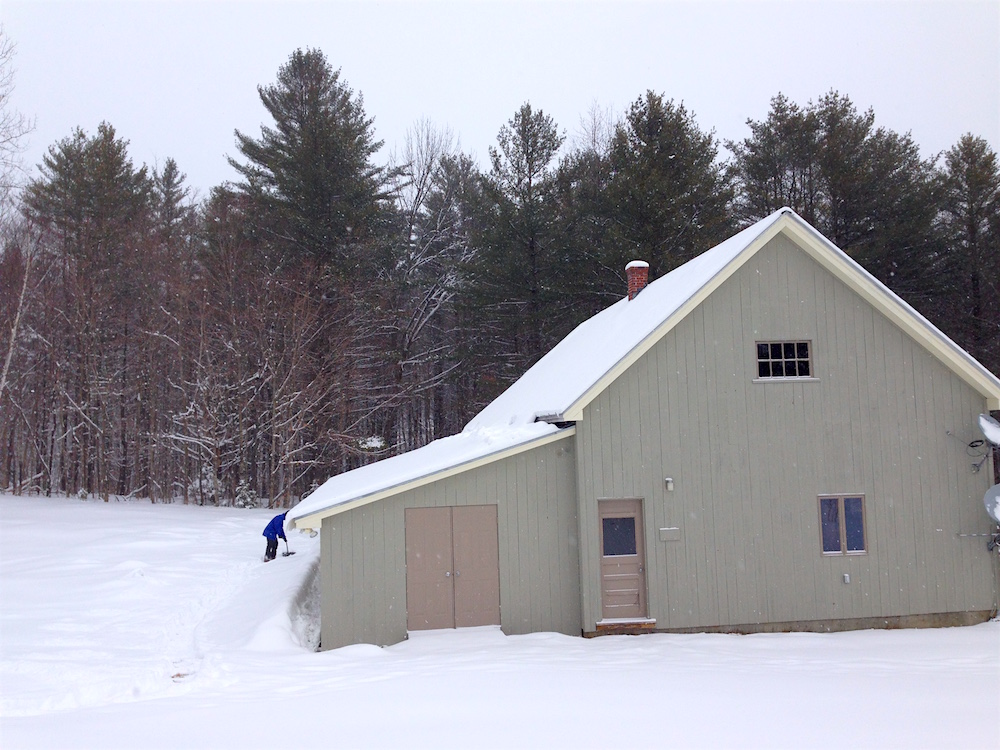 Mr. FW shoveling snow near our barn/shop