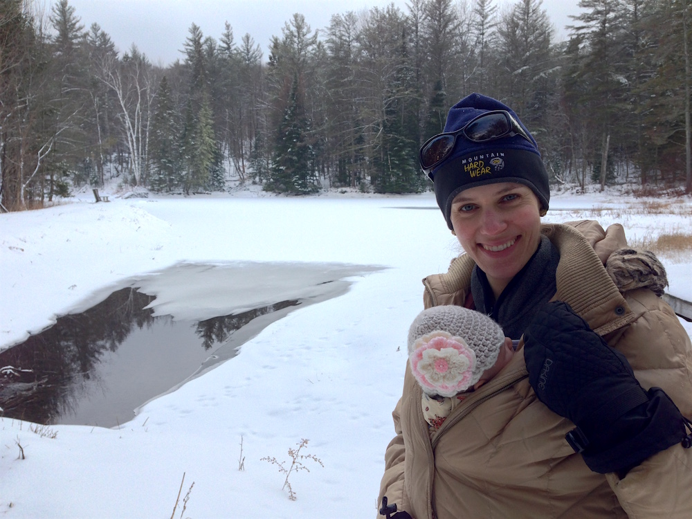 Babywoods and I snowshoeing near the pond
