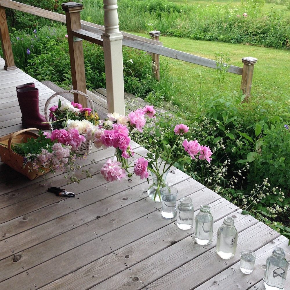 My floral arranging set-up on the porch