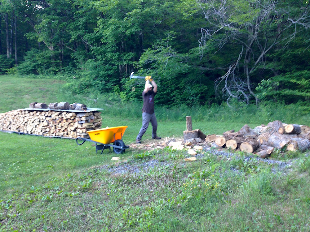 Mr. FW splitting wood