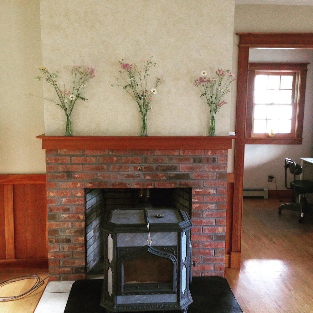 Our woodstove: chillin' summer-style with wildflowers!
