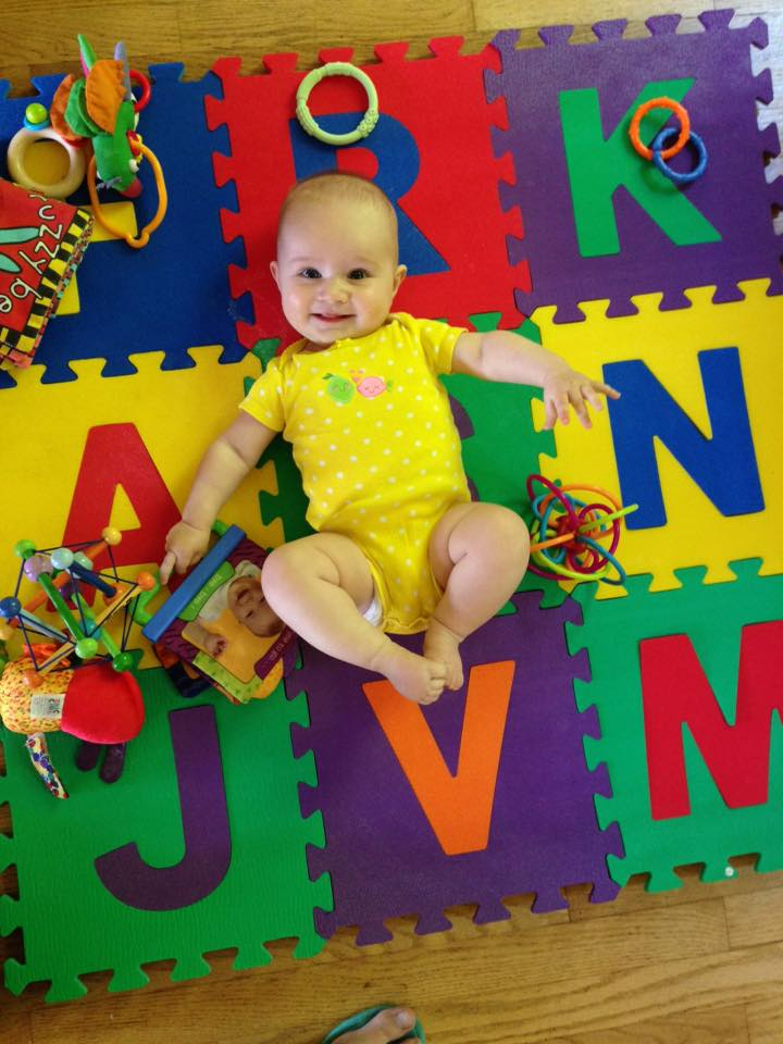 Babywoods on one of her playmats