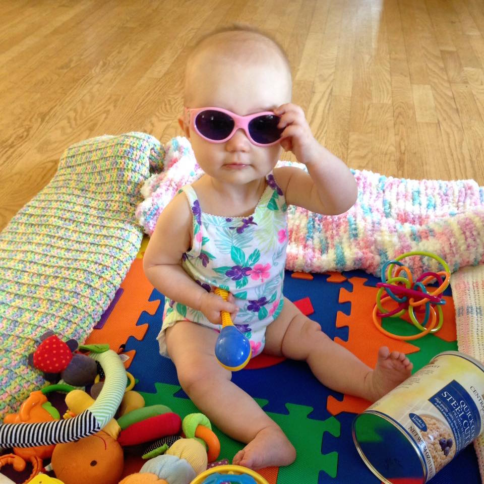 Babywoods surveys the scene in her baby shades
