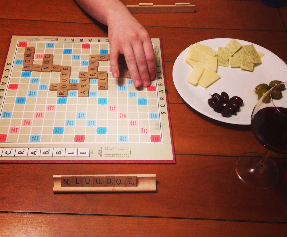One of our favorite frugal date night activities: board games and hors d'oeuvres!