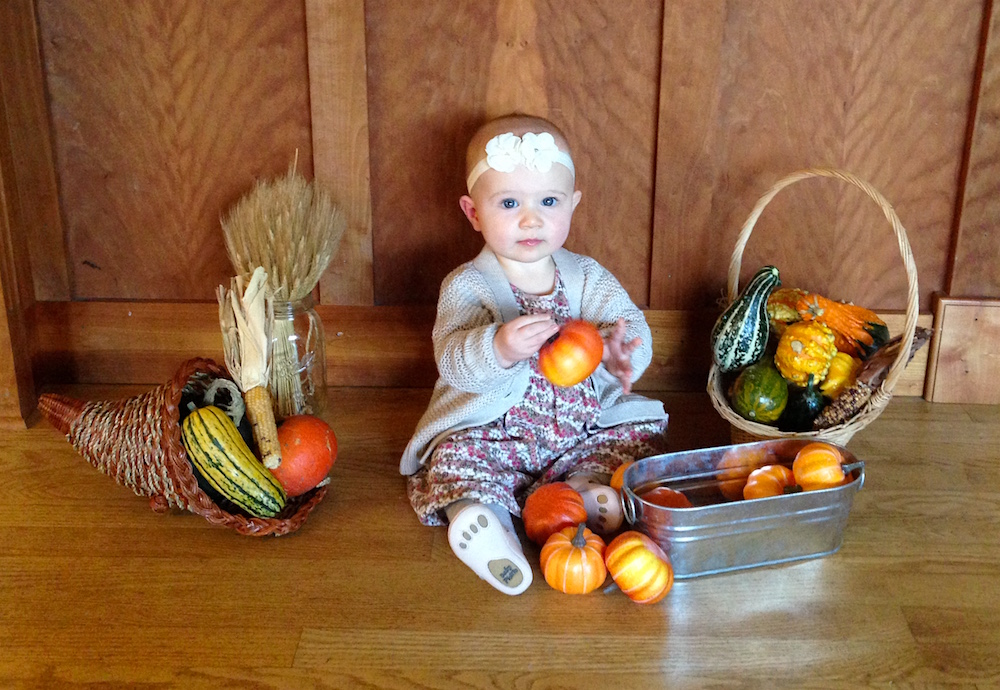 Babywoods is thankful I let her play with the decorative gourds...