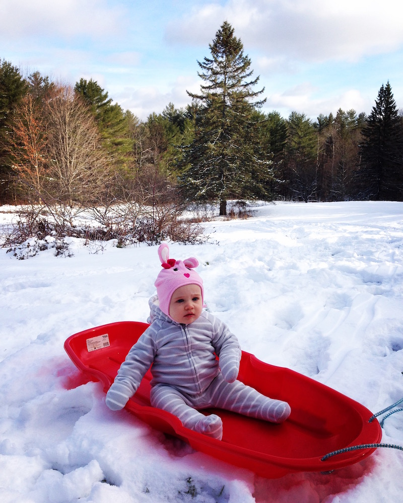 Babywoods prepped for downhill sledding (accompanied by parents, of course)