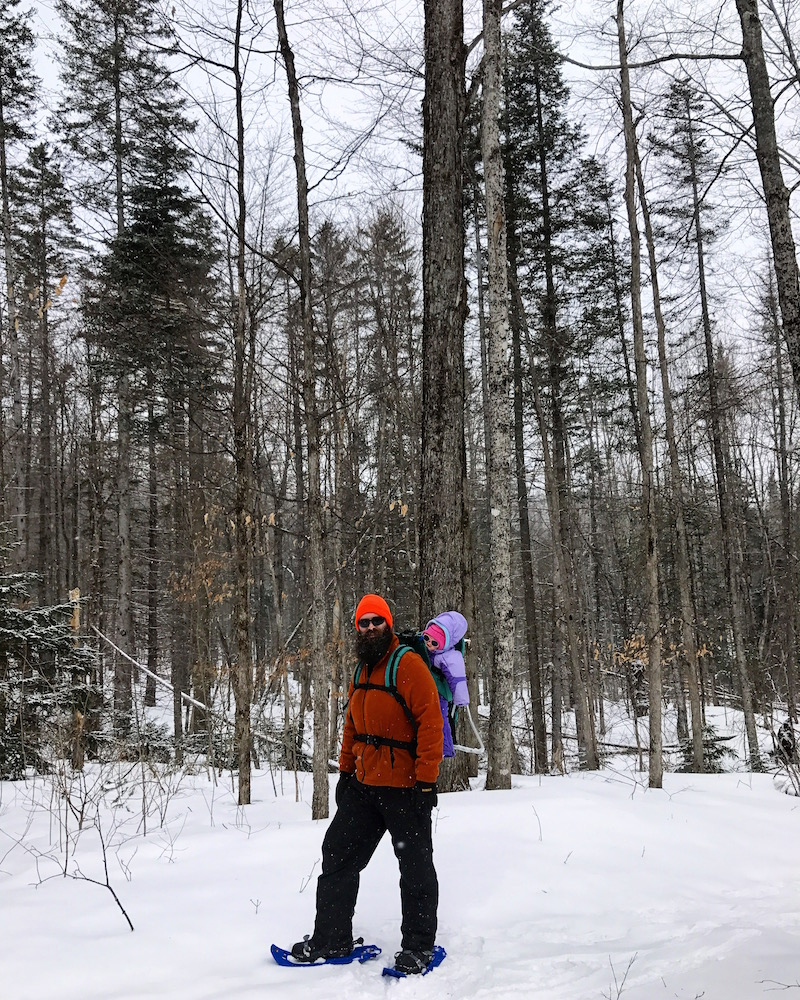 25d7bae2 Mr. FW snowshoe hiking last winter with Babywoods in the backpack carrier